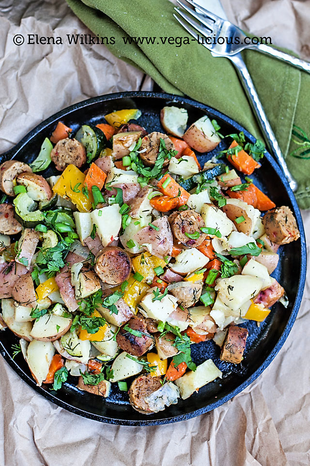 """Easy to make, oven roasted vegan sausage and potatoes recipe. With only the simplest of ingredients this """"one pot"""" meal is perfect for any family dinner."""