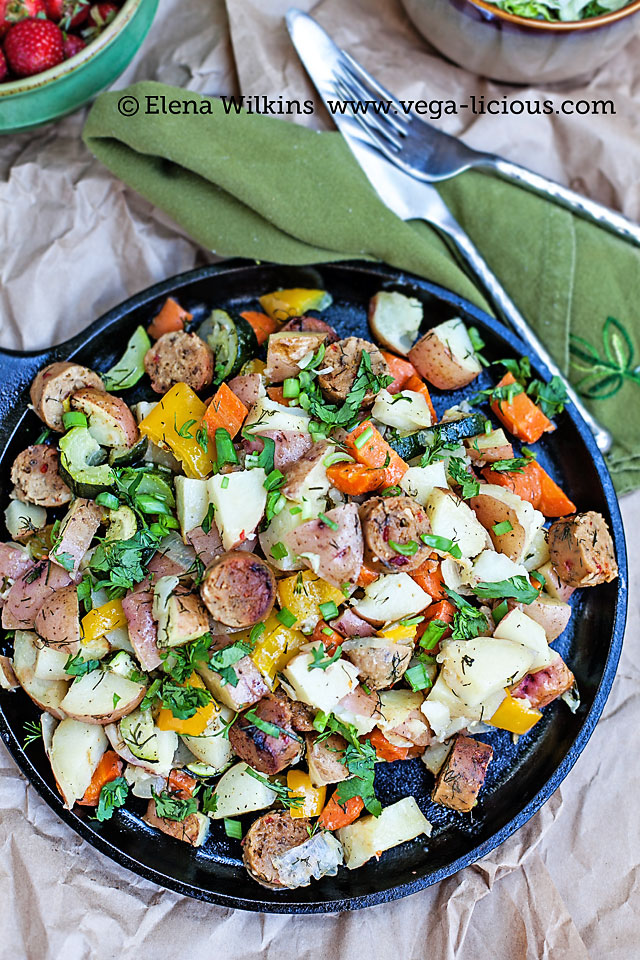 "Easy to make, oven roasted vegan sausage and potatoes recipe. With only the simplest of ingredients this ""one pot"" meal is perfect for any family dinner."