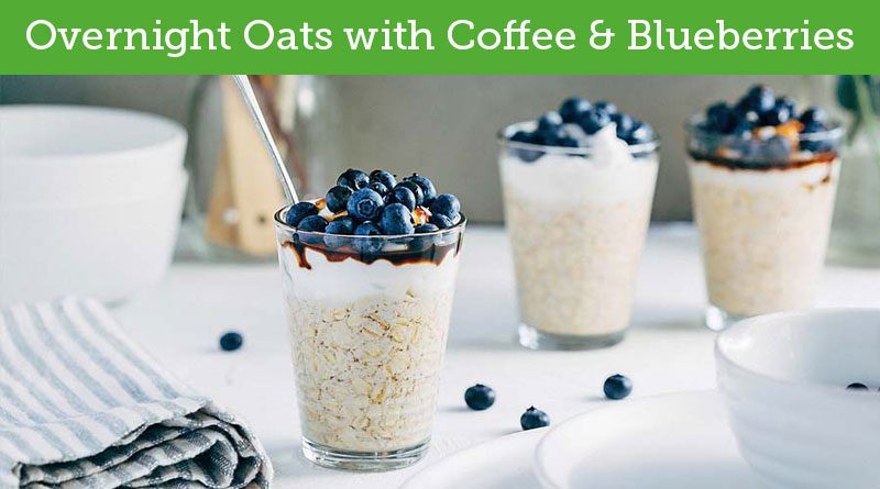 Overnight Oats with Coffee And Blueberries