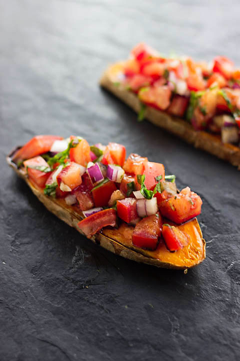 Nutrient loaded, gluten free and vegan version of all-time Italian favorite-Bruschetta! But this one is served on sweet potato toasts! Genius!